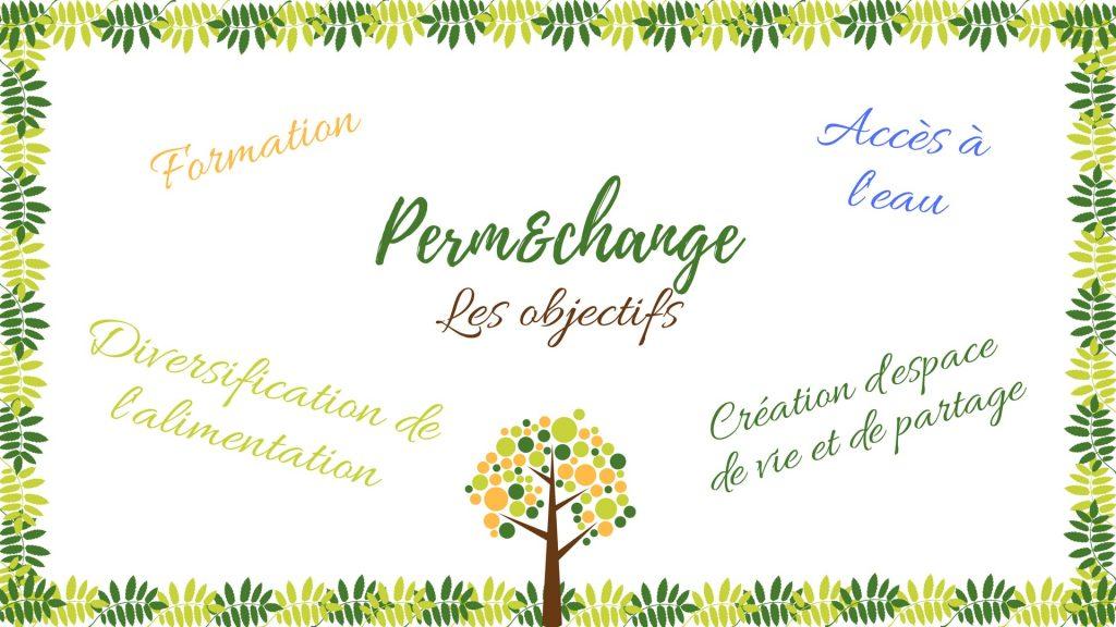 Objectifs du projet Perm&change: Formation, acces a l'eau, creation d'espace de vie et de partage, diversification de l'alimentation