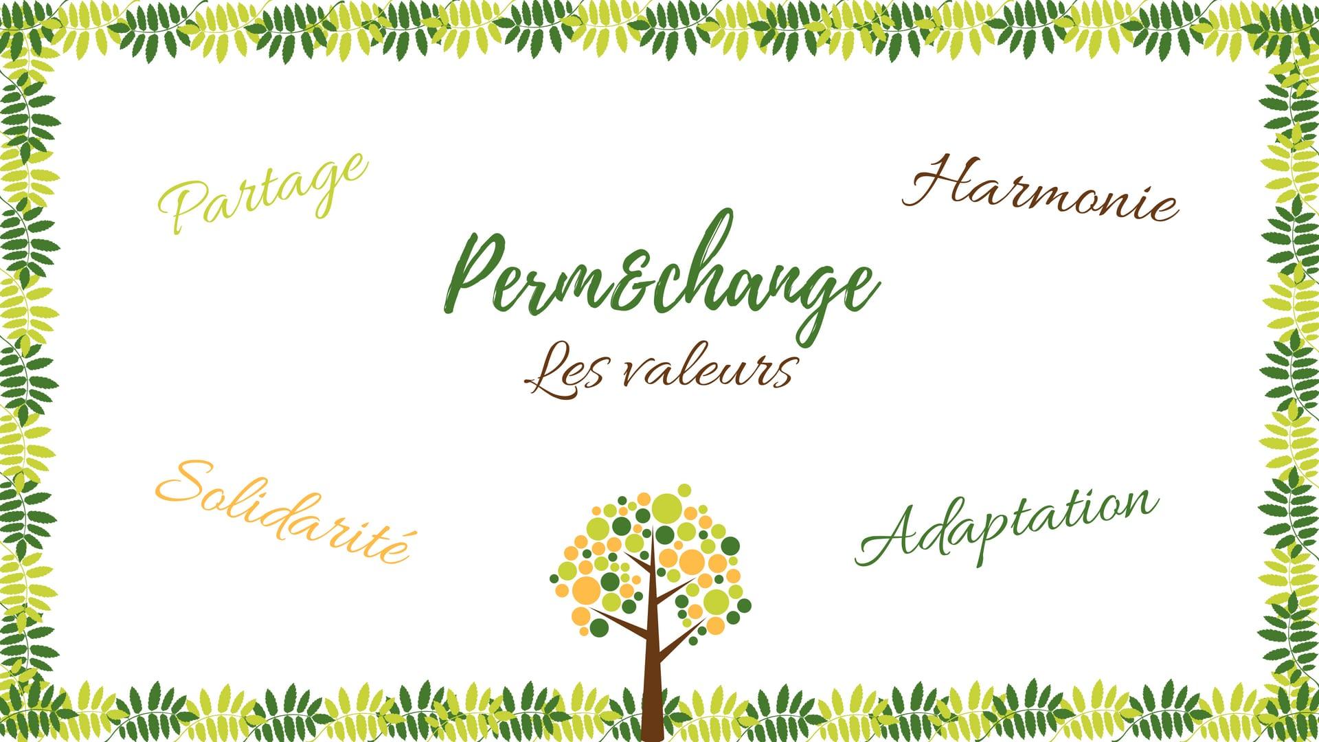 Quelques valeurs du projet Perm&change: Solidarite, Partage, Hamonie et Adaptation.